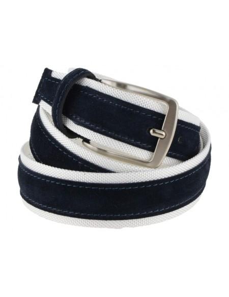 Cintura uomo tela e camoscio da 4 cm artigianale blu e bianco
