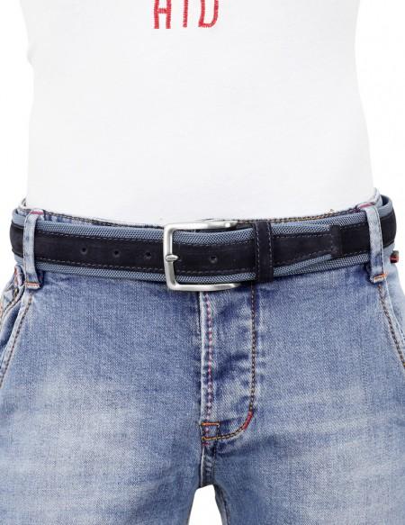 Cintura uomo tela e camoscio da 4 cm artigianale blu jeans e blu
