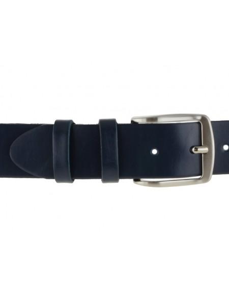 Cintura uomo in cuoio blu da 4 cm e bordo arrotondato