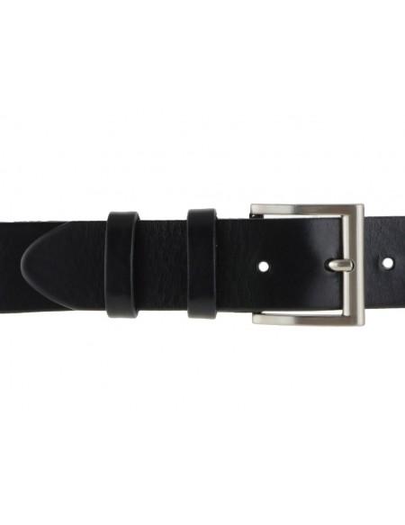 Cintura uomo in cuoio nero da 4 cm e bordo arrotondato