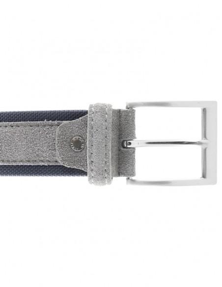 Cintura uomo tela e camoscio da 4 cm artigianale blu royal blu