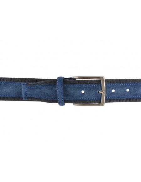 Cintura uomo tela e camoscio da 4 cm artigianale grigia e blu