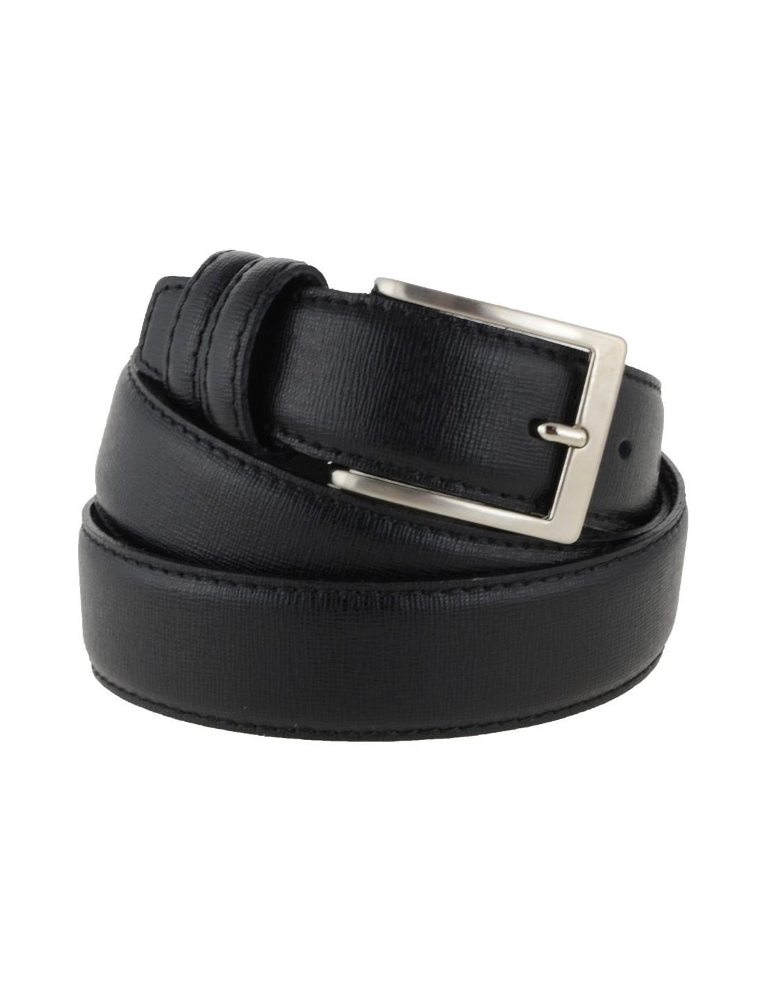 03710788ce Cintura uomo in pelle di vitello effetto saffiano nero modello Prada