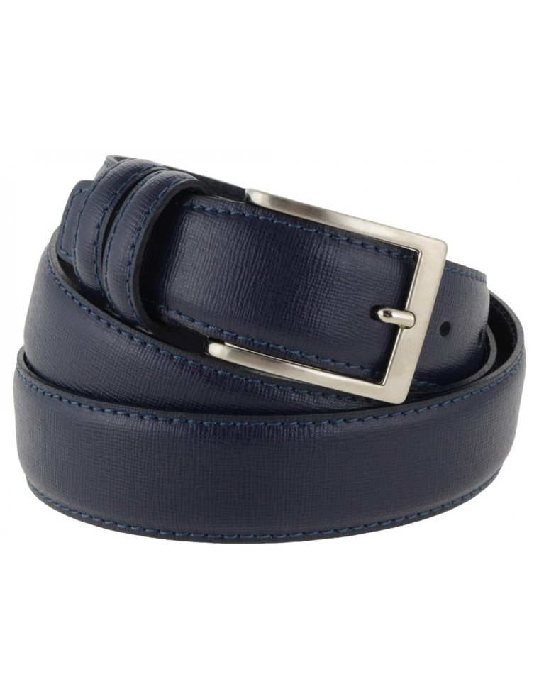 957b823cfa Cintura in pelle saffiano blu per sposo e cerimonie