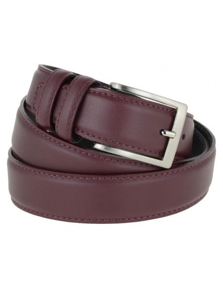 Cintura uomo elegante in pelle di vitello bordeaux classica 3,5 cm