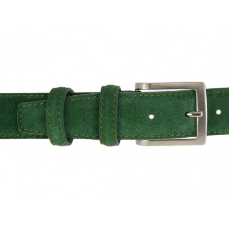 Cintura da uomo verde in camoscio artigianale
