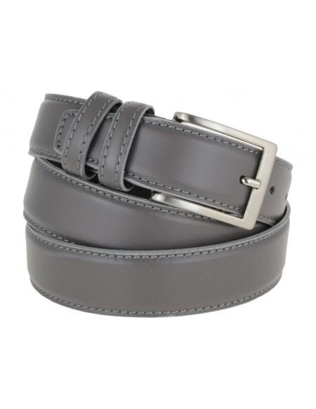 Cintura uomo elegante in pelle di vitello grigio classica 3,5 cm