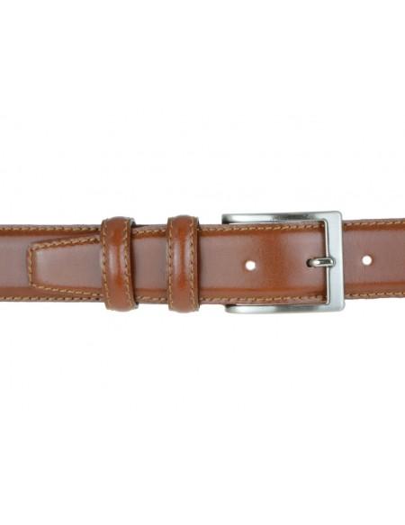 Cintura in pelle semi lucida marrone da cerimonia 3,5 cm