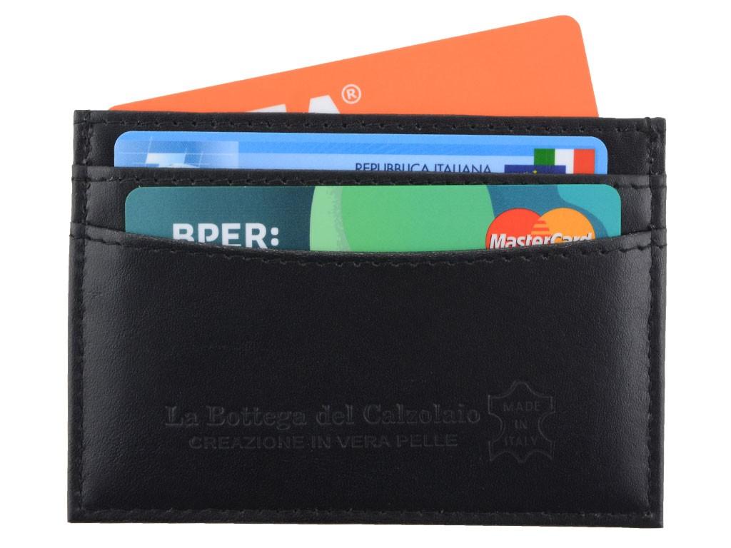 Porta carte di credito nero per uomo realizzato in vera pelle