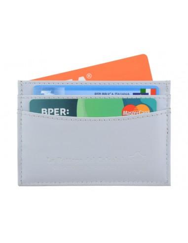 Porta carte di credito da uomo in pelle grigio chiaro