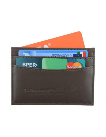 Porta carte di credito da uomo in pelle marrone