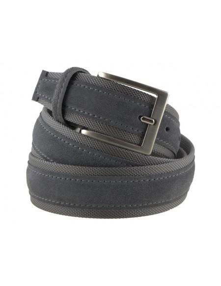 Cintura uomo tela e camoscio da 4 cm artigianale grigio scuro e grigio scuro