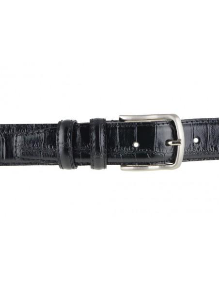 Cintura uomo in pelle di vitello stampa cocco nera