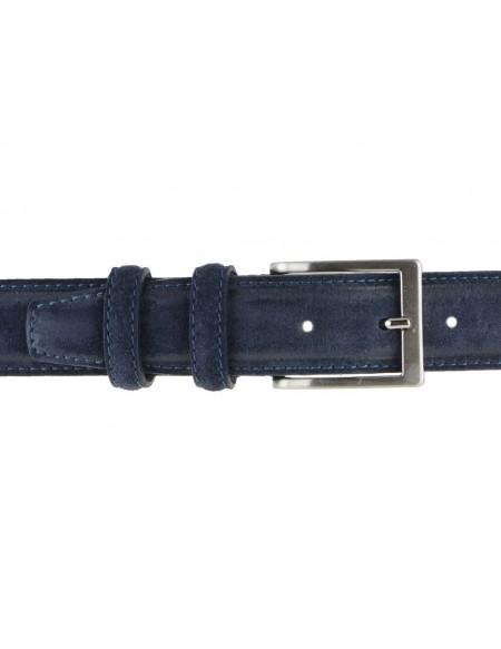 Cintura artigianale in camoscio vintage blu da uomo