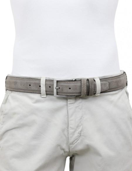 Cintura artigianale in camoscio vintage grigia da uomo