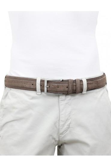 Cintura artigianale in camoscio vintage marrone da uomo