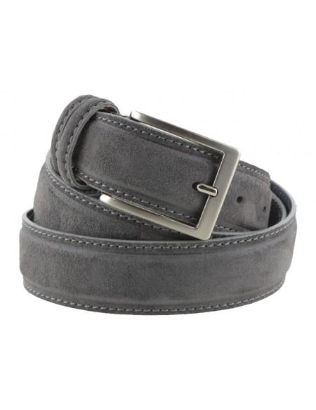 Cintura artigianale in camoscio vintage grigio scuro da uomo