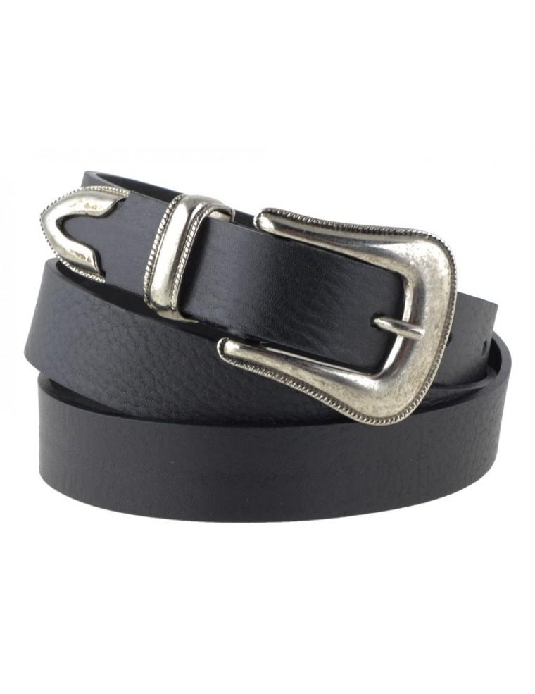 4d51dc84458 Cintura donna in pelle nera con fibbia western argento vintage