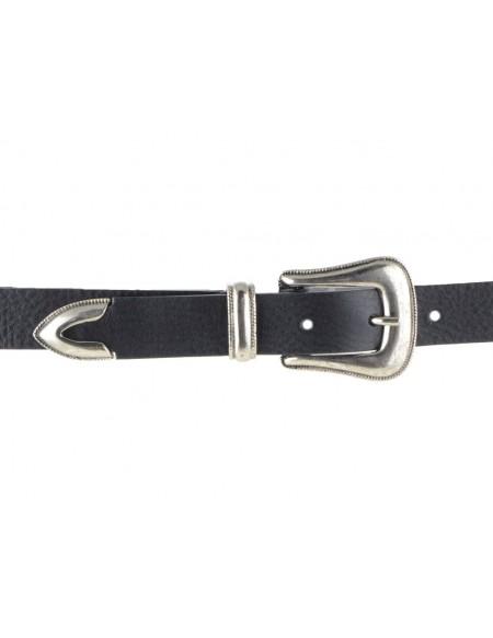 Cintura donna in pelle nera