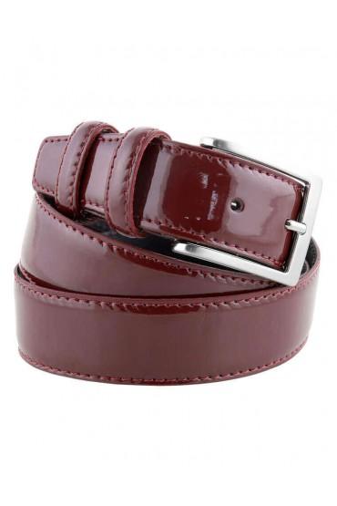 Cintura uomo in pelle di vitello spazzolato bordeaux 3,5 cm