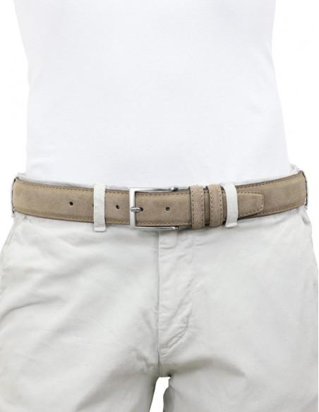 Cintura da uomo in camoscio artigianale fango