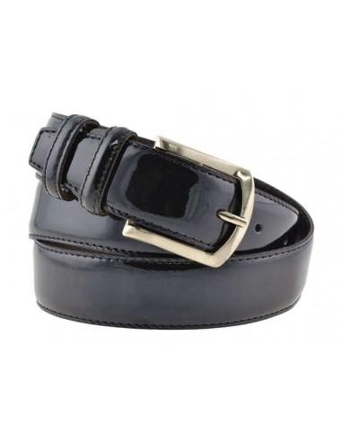 Cintura uomo in pelle di vitello spazzolato nera 3,5 cm