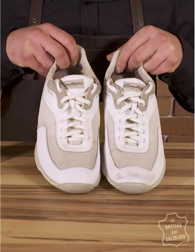 Kit per pulire scarpe bianche in pelle