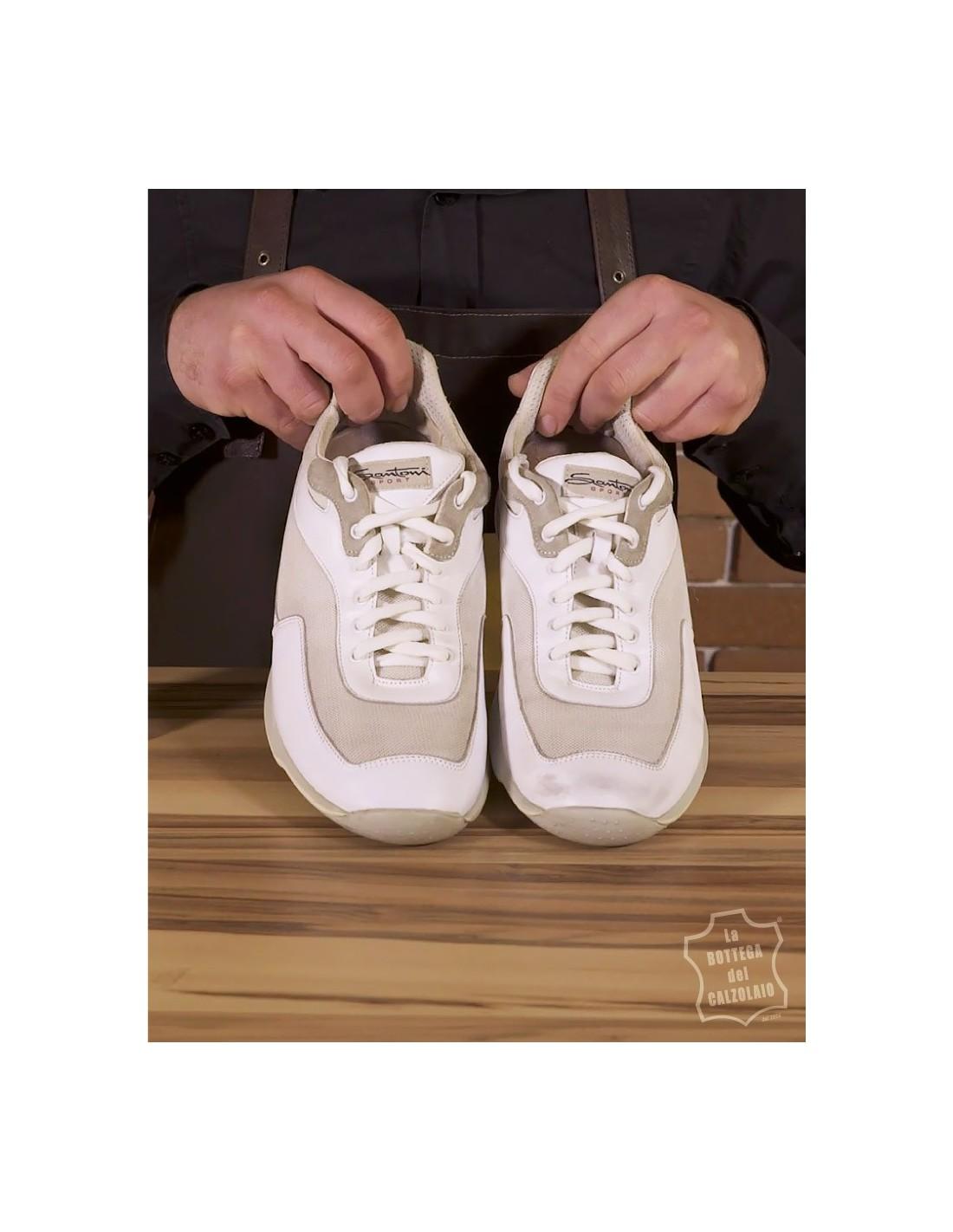 Kit per pulire scarpe bianche in pelle e sneakers in tela o