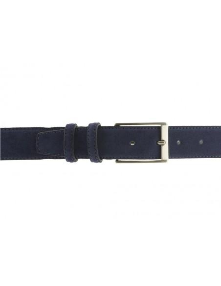 Cintura uomo in pelle scamosciata blu jeans artigianale made in Italy