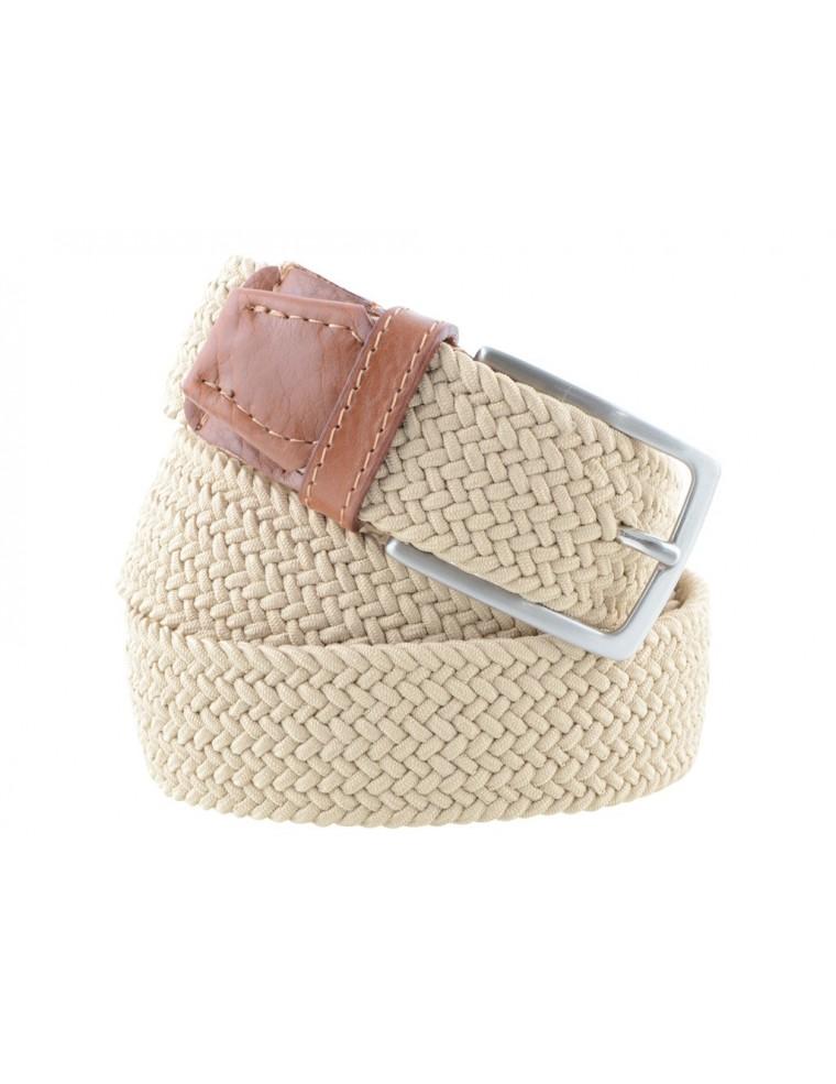 ottenere a buon mercato a23fb cd306 Cintura intrecciata uomo elastica beige con inserti in pelle marrone