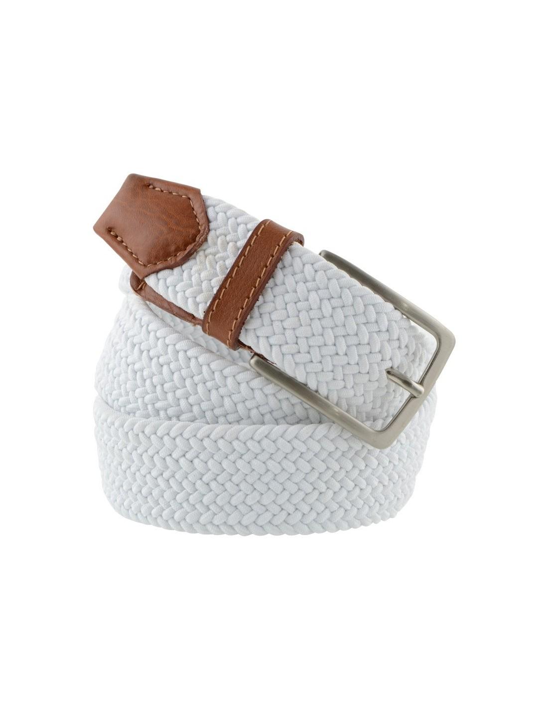 più foto e17c3 b67eb Cintura elastica da uomo intrecciata bianca