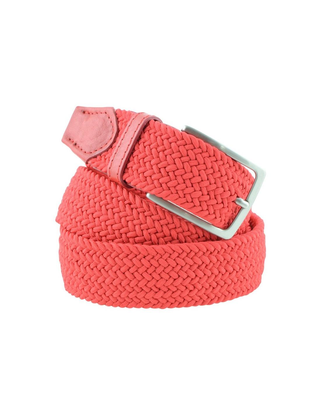 l'ultimo bd3b1 8880c Cintura elastica uomo intrecciata rossa