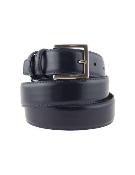 Cintura uomo in pelle blu classica elegante 3,5 cm artigianale