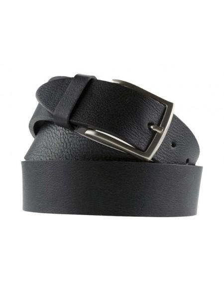 Cintura uomo in cuoio nero da 4 cm