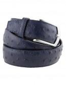 Cintura in struzzo blu da uomo