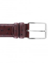 Cintura struzzo bordeaux da uomo