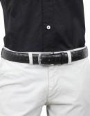 Cintura in struzzo nera da uomo