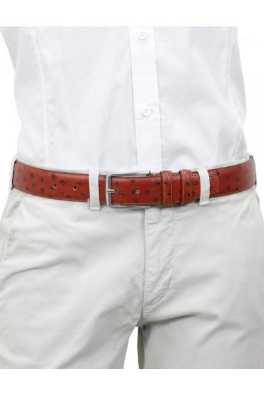 Cintura struzzo ruggine da uomo