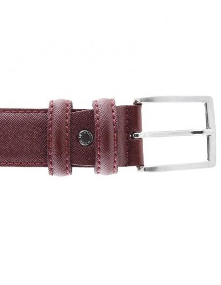 Cintura in pelle saffiano bordeaux da uomo modello Prada