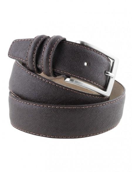 miglior grossista Acquista moda Cintura in pelle effetto saffiano testa di moro