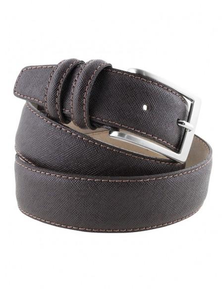 Cintura in pelle saffiano da uomo modello Prada testa di moro
