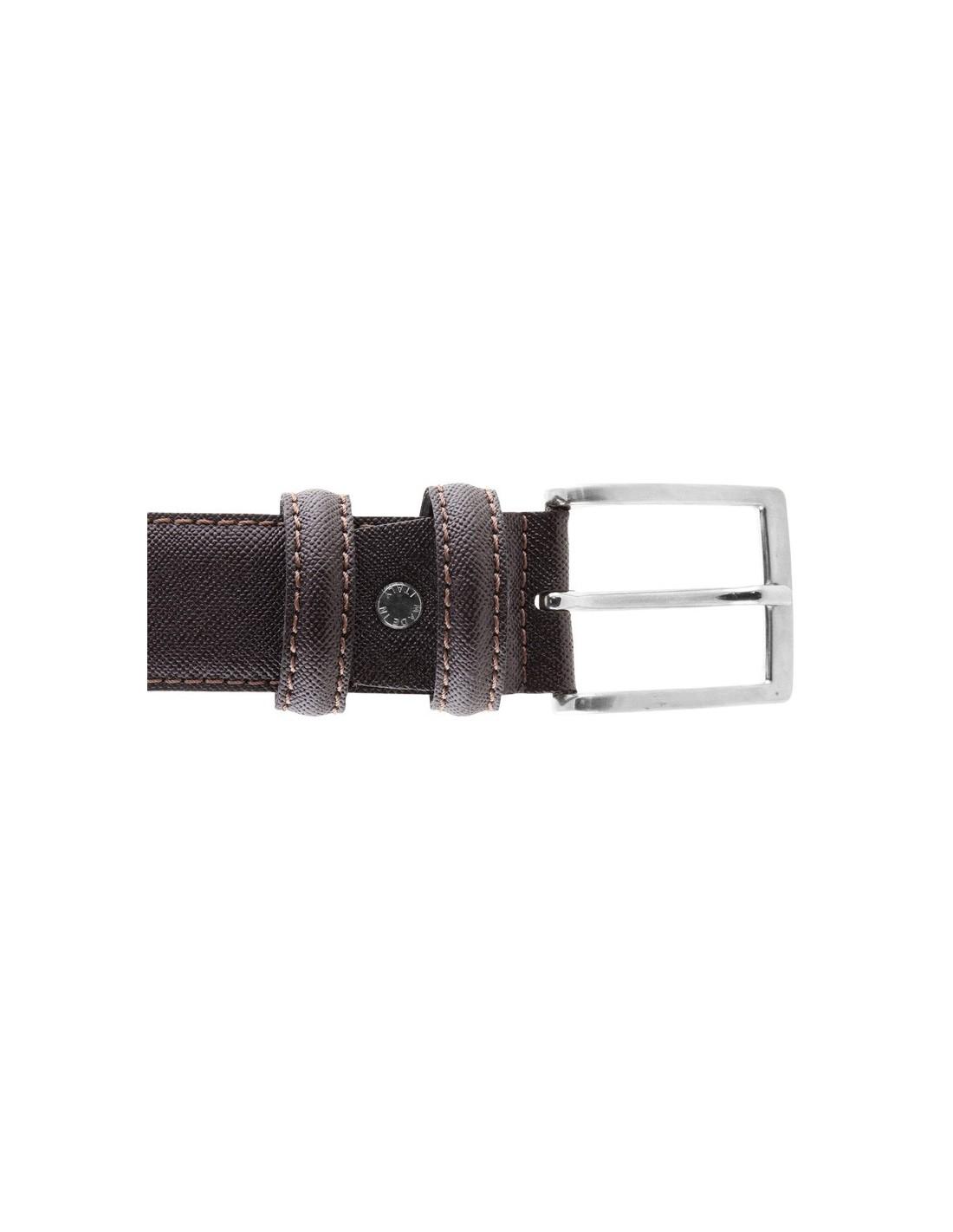 8ef547771d Cintura in pelle effetto saffiano testa di moro