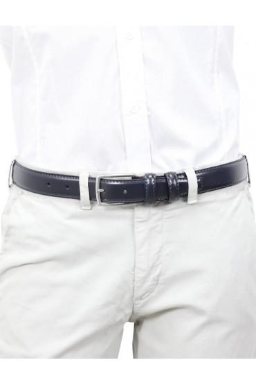 Cintura uomo in pelle blu classica elegante 3 cm artigianale