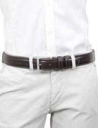 Cintura in pelle testa di moro da uomo con impunture, artigianale