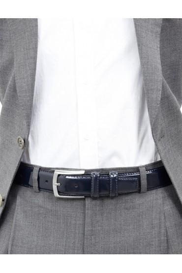 Cintura uomo in pelle di vitello spazzolato blu 3,5 cm