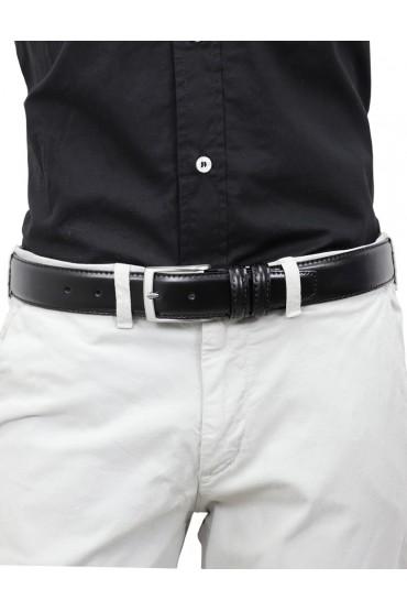 Cintura uomo in pelle nera classica elegante 3,5 cm artigianale