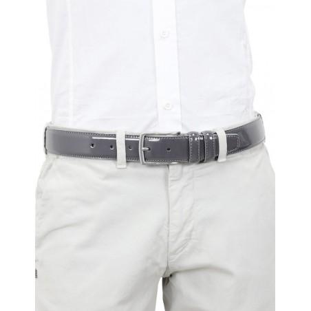 Cintura uomo in pelle di vitello spazzolato grigia 3,5 cm