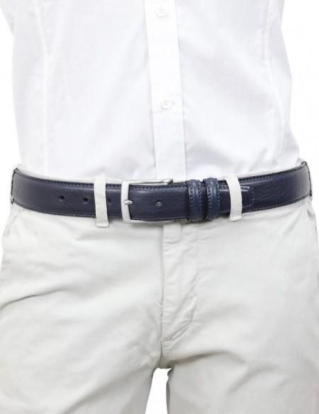 Cintura uomo elegante in pelle di vitello blu scuro classica 3,5 cm