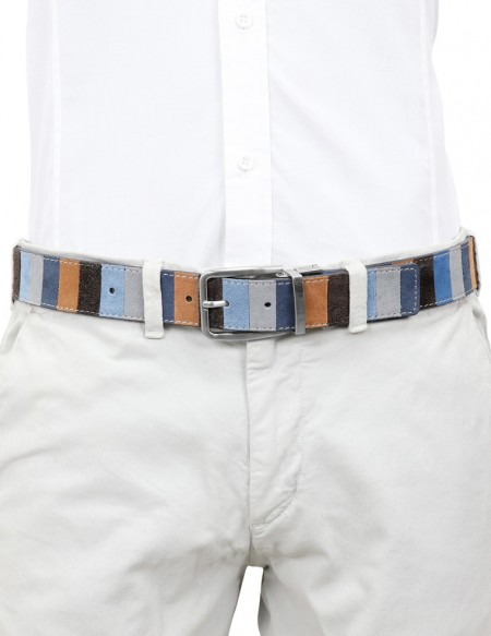 Cintura uomo in camoscio stile Gallo con righe multicolor