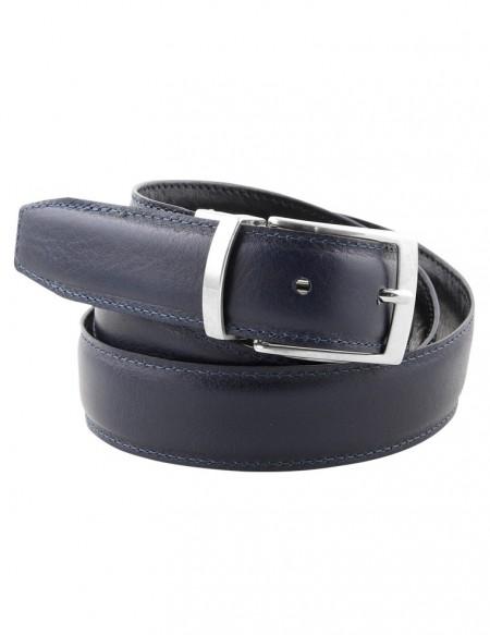 Cintura double face da uomo blu e nera